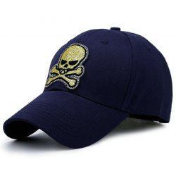 Shimmer Skull Patchwork Baseball Hat - CADETBLUE