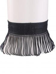 Snap Button Fringed Woven Elastic Corset Belt -