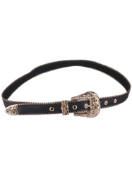 Engraved Vintage Pin Buckle Faux Leather Belt - GOLDEN