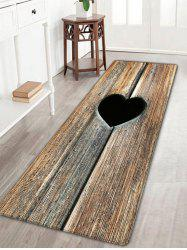 Heart Wood Grain Flannel Antislip Bathroom Rug - ROSEWOOD