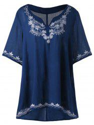High Low Embroidered Plus Size Tunic Blouse