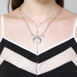 Gypsy Circle Bar Moon Layered Necklace