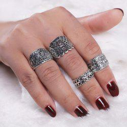 Engraved Flower Vintage Finger Ring Set