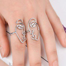 Funny Alloy Heart Face Ring Set