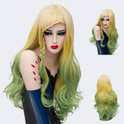 Long Side Braid Bang Layered Wavy Colormix Synthetic Wig