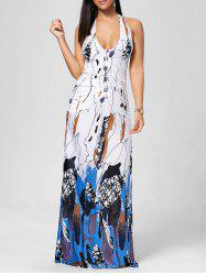 Robe de soiree Halter Printed Floor Length - Bleu