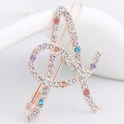 Rhinestone Hollow Out Letter A Hair Clip - COLORFUL