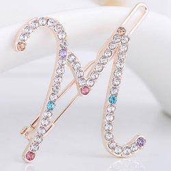 Rhinestone Letter M Shape Hair Clip - COLORFUL