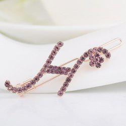 Rhinestone Letter H Shape Hair Clip - LAVENDER FROST