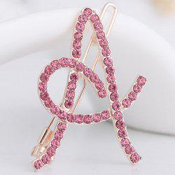 Rhinestone Hollow Out Letter A Hair Clip - SHALLOW PINK
