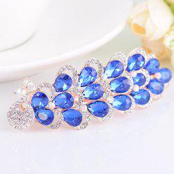 Rhinestone Inlaid Faux Gem Peacock Design Barrette - BLUE