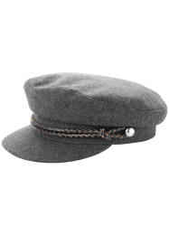 Woolen Blended Rope Embellished Peaked Hat - GRAY