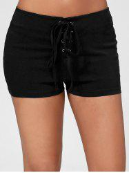 Skinny Lace Up Shorts - BLACK
