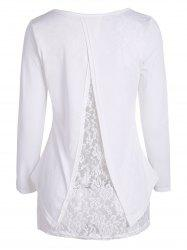 Lace Insert Long Sleeve High Low T Shirt