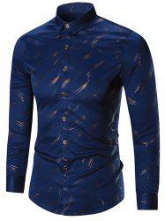 Printed Long Sleeve Plus Size Shirt - CADETBLUE 7XL