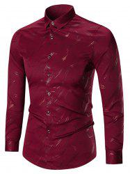 Printed Long Sleeve Plus Size Shirt - WINE RED 7XL