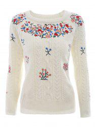 Crew Neck Knit Embroidery Sweater