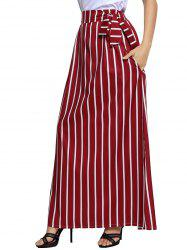 Striped Maxi Skirt - WINE RED S