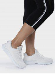 Breathable Eyelet Embroidery Athletic Shoes - WHITE