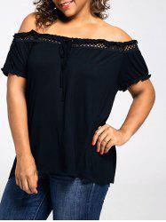 Off Shoulder Lace Trim Plus Size T-shirt