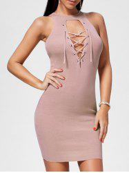 Plunging Neckline Lace Up Party Bodycon Mini Dress