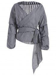 Plaid V Neck Long Sleeve Wrap Top