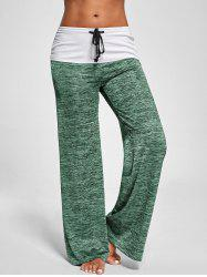 Foldover Heather Palazzo Pants - APPLE GREEN 2XL