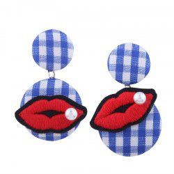 Faux Pearl Embroidery Lips Plaid Earrings