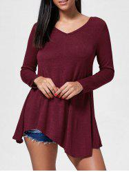 Fresh Style V-Neck Long Sleeve Dress -