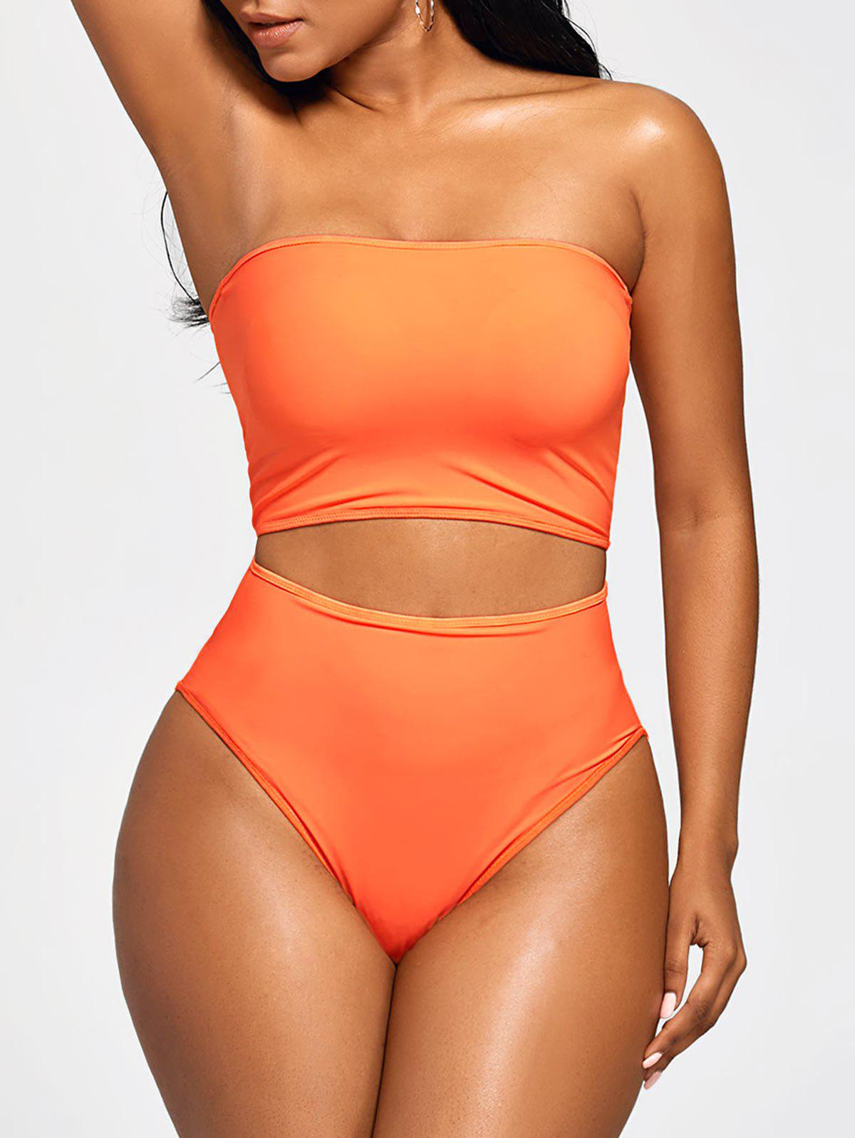 High Waist Strapless Bandeau BikiniWOMEN<br><br>Size: S; Color: MANDARIN; Swimwear Type: Bikini; Gender: For Women; Material: Polyester,Spandex; Bra Style: Padded; Support Type: Wire Free; Neckline: Strapless; Pattern Type: Solid Color; Waist: High Waisted; Elasticity: Elastic; Weight: 0.2500kg; Package Contents: 1 x Crop Top  1 x Briefs;