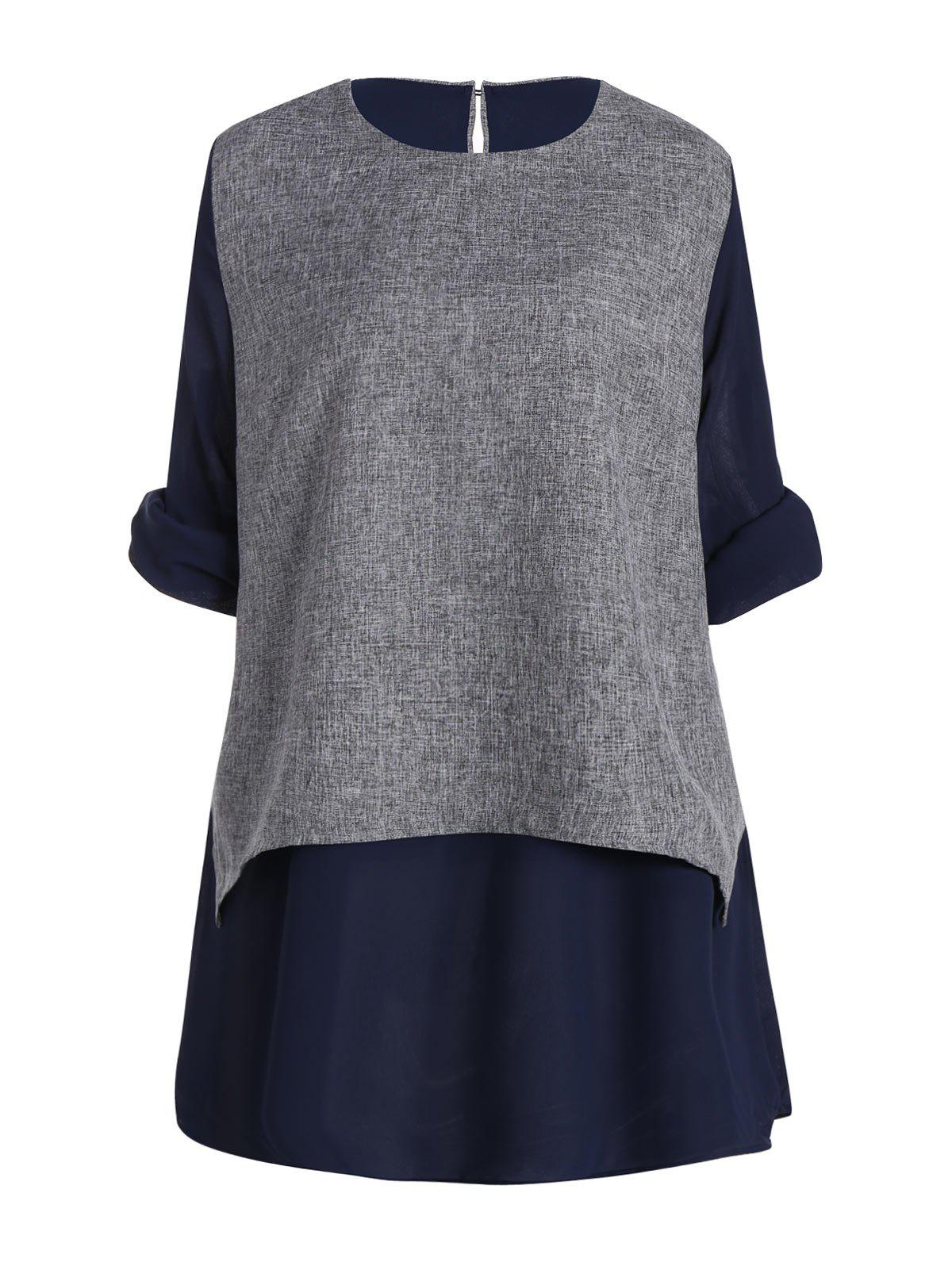 Layering Plus Size Chiffon Long Sleeve TopWOMEN<br><br>Size: 5XL; Color: PURPLISH BLUE; Material: Cotton Blends,Polyester; Fabric Type: Chiffon; Shirt Length: Long; Sleeve Length: Full; Collar: Round Neck; Style: Fashion; Season: Fall,Spring; Embellishment: Ruffles; Pattern Type: Print; Weight: 0.3600kg; Package Contents: 1 x Top;