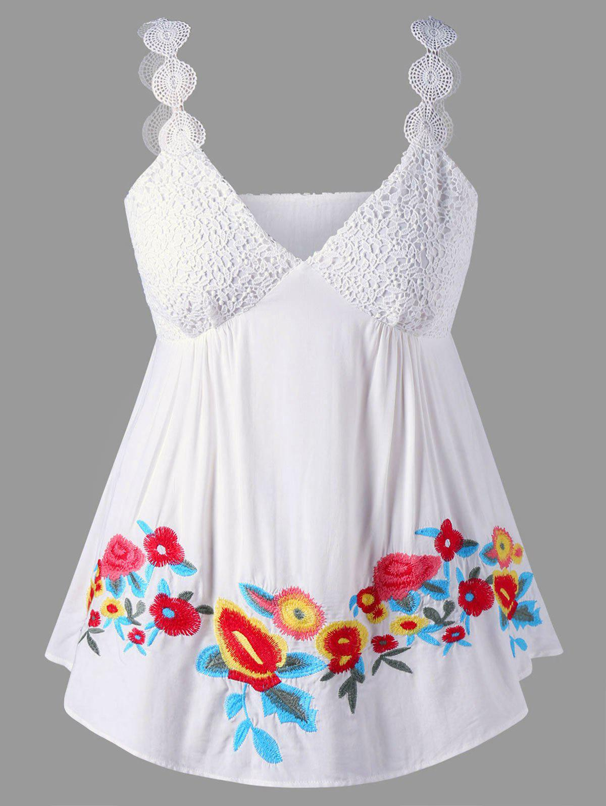 Plus Size Empire Waist Embroidery Sleeveless TopWOMEN<br><br>Size: 4XL; Color: WHITE; Material: Rayon,Spandex; Shirt Length: Regular; Sleeve Length: Sleeveless; Collar: V-Neck; Style: Casual; Season: Summer; Pattern Type: Floral; Weight: 0.2100kg; Package Contents: 1 x Top;