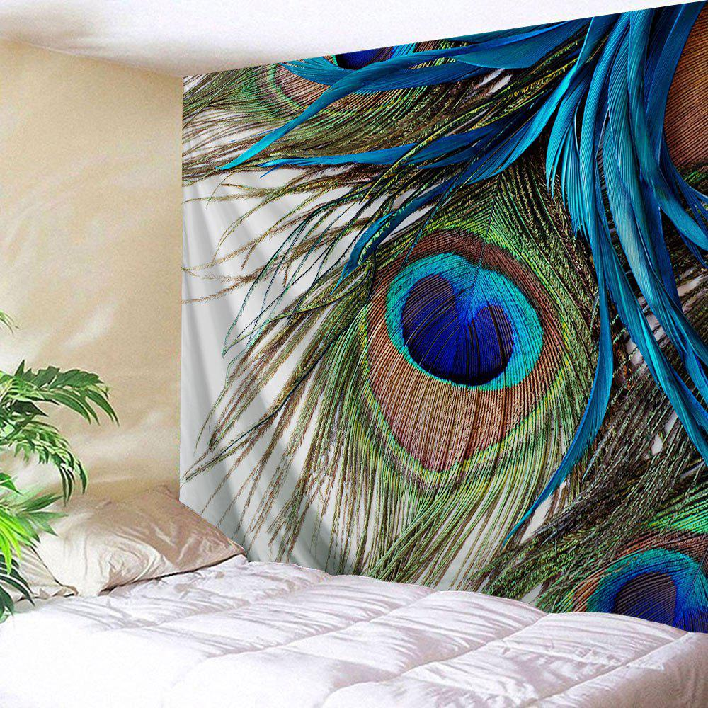 Peacock Feather Wall Art Tapestry HangerHOME<br><br>Size: W51 INCH * L59 INCH; Color: COLORMIX; Style: Romantic; Material: Polyester; Feature: Removable,Washable; Shape/Pattern: Feather; Weight: 0.1900kg; Package Contents: 1 x Tapestry;