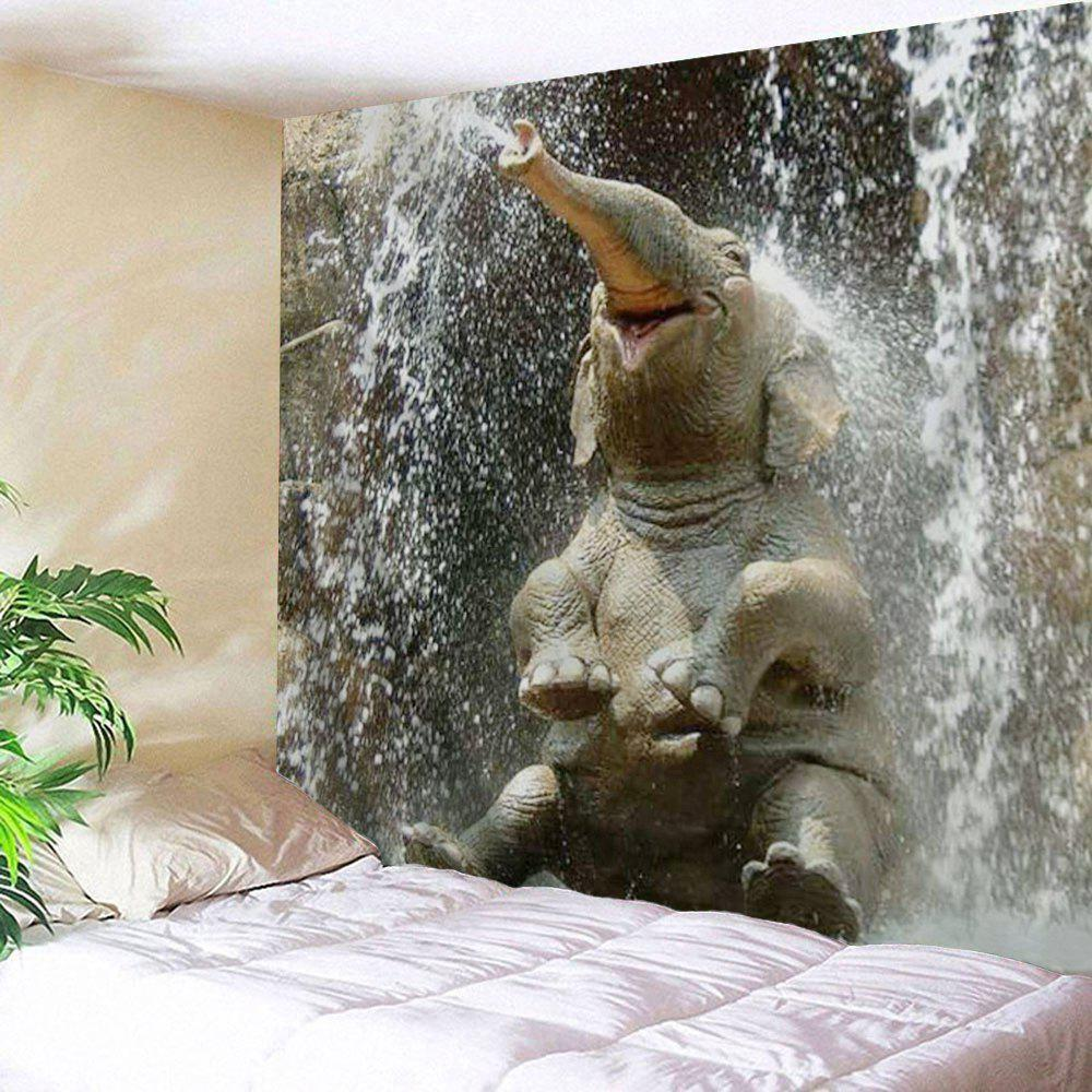Wall Hanging Elephant Spray Water TapestryHOME<br><br>Size: W51 INCH * L59 INCH; Color: TAUPE; Style: Fresh Style; Theme: Animals; Material: Polyester; Feature: Removable,Washable; Shape/Pattern: Animal,Print; Weight: 0.1900kg; Package Contents: 1 x Tapestry;