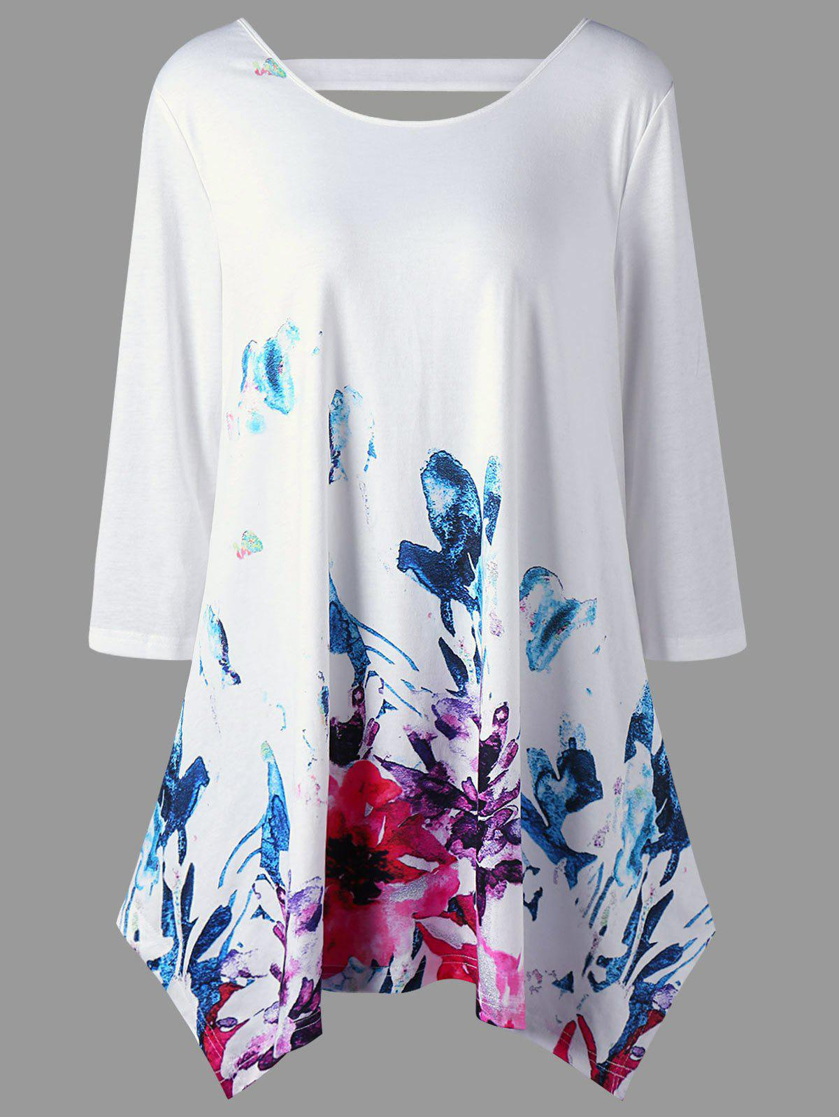Floral Plus Size Cutout TunicWOMEN<br><br>Size: 5XL; Color: WHITE; Material: Polyester,Spandex; Shirt Length: Long; Sleeve Length: Three Quarter; Collar: Round Neck; Style: Casual; Season: Fall; Pattern Type: Floral; Weight: 0.3100kg; Package Contents: 1 x Tunic;