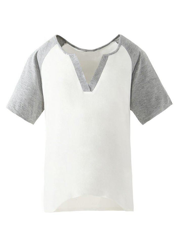 Online V Neck Two Tone Short Sleeve Tee