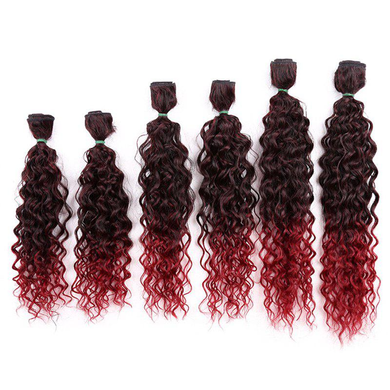 Fancy 6PCS 14~18 Inches Jerry Wave Colormix Hair Wefts