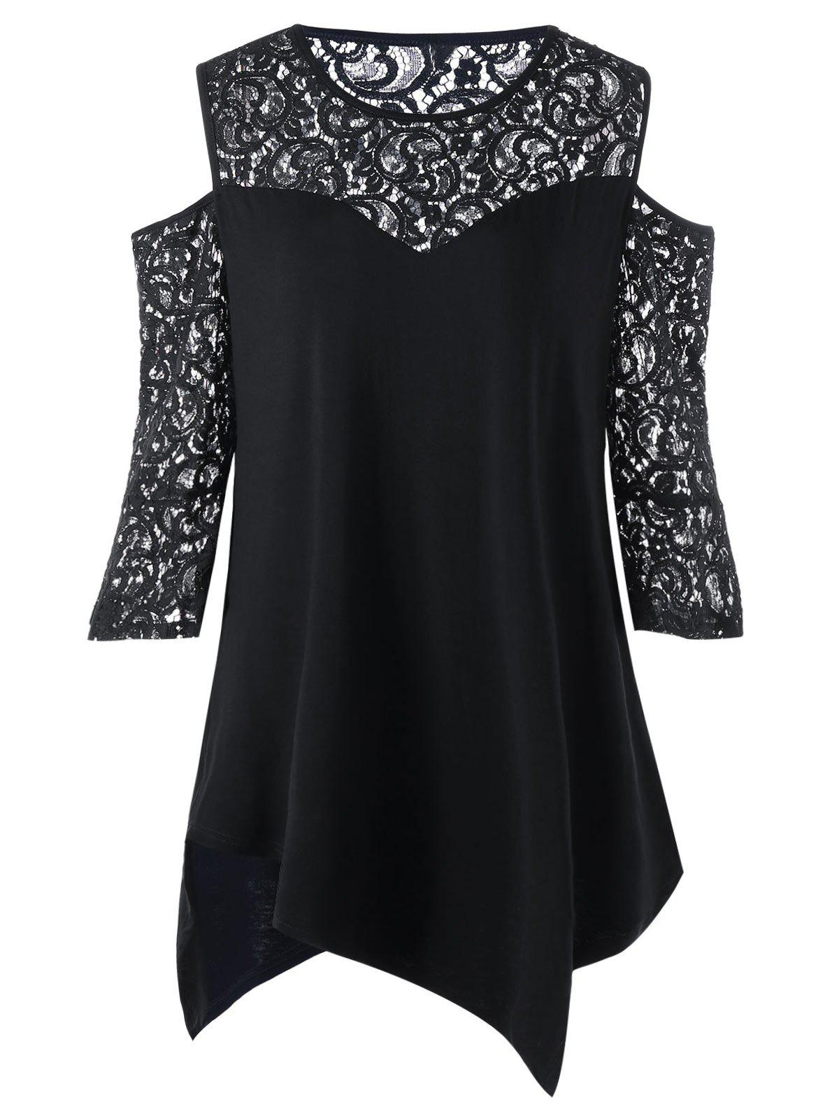 Plus Size Lace Panel Cold Shoulder BlouseWOMEN<br><br>Size: 3XL; Color: BLACK; Material: Rayon,Spandex; Shirt Length: Long; Sleeve Length: Half; Collar: Round Neck; Style: Fashion; Season: Summer; Pattern Type: Others; Weight: 0.3000kg; Package Contents: 1 x Blouse;