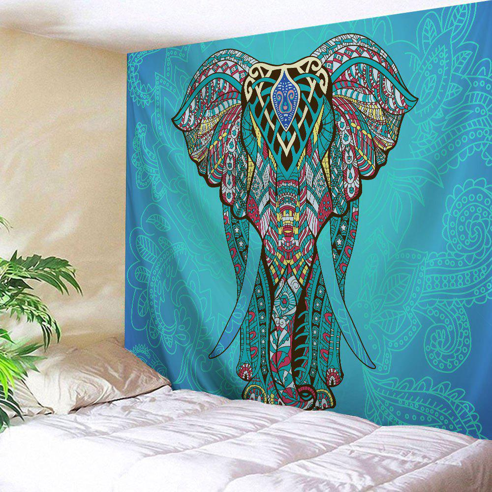Ethnic Elephant Wall Hanging Art Decor TapestryHOME<br><br>Size: W59 INCH * L59 INCH; Color: LAKE BLUE; Style: Vintage; Theme: Animals; Material: Polyester; Feature: Removable,Washable; Shape/Pattern: Print; Weight: 0.2200kg; Package Contents: 1 x Tapestry;