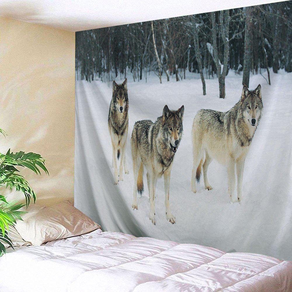 Wall Art Hanging Snowfield Wolf Fabric TapestryHOME<br><br>Size: W59 INCH * L79 INCH; Color: COLORMIX; Style: Fresh Style; Theme: Animals; Material: Polyester; Feature: Removable,Washable; Shape/Pattern: Print; Weight: 0.2800kg; Package Contents: 1 x Tapestry;