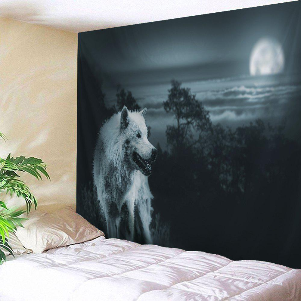 Wild Wolf Wall Hanging Beach Blanket TapestryHOME<br><br>Size: W59 INCH * L79 INCH; Color: BLACK GREY; Style: Fresh Style; Theme: Animals; Material: Polyester; Feature: Removable,Washable; Shape/Pattern: Print; Weight: 0.2800kg; Package Contents: 1 x Tapestry;