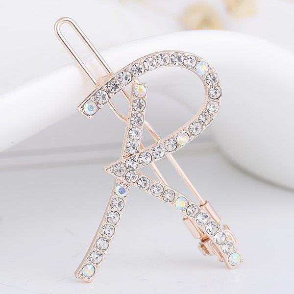 Letter R Rhinestone Inlaid HairclipACCESSORIES<br><br>Color: WHITE; Group: Adult; Gender: For Women; Style: Fashion; Pattern Type: Letter; Shape/Pattern: Letter; Material: Alloy; Weight: 0.0100kg; Package Contents: 1 x Hairclip;