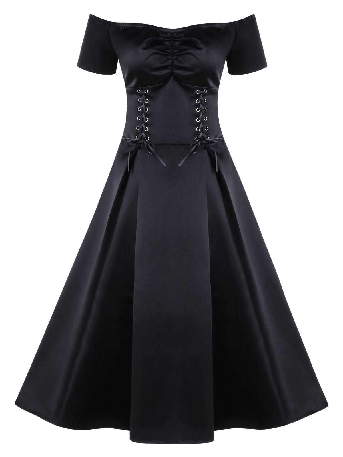 Best Lace Up Off The Shoulder Skater Prom Midi Dress