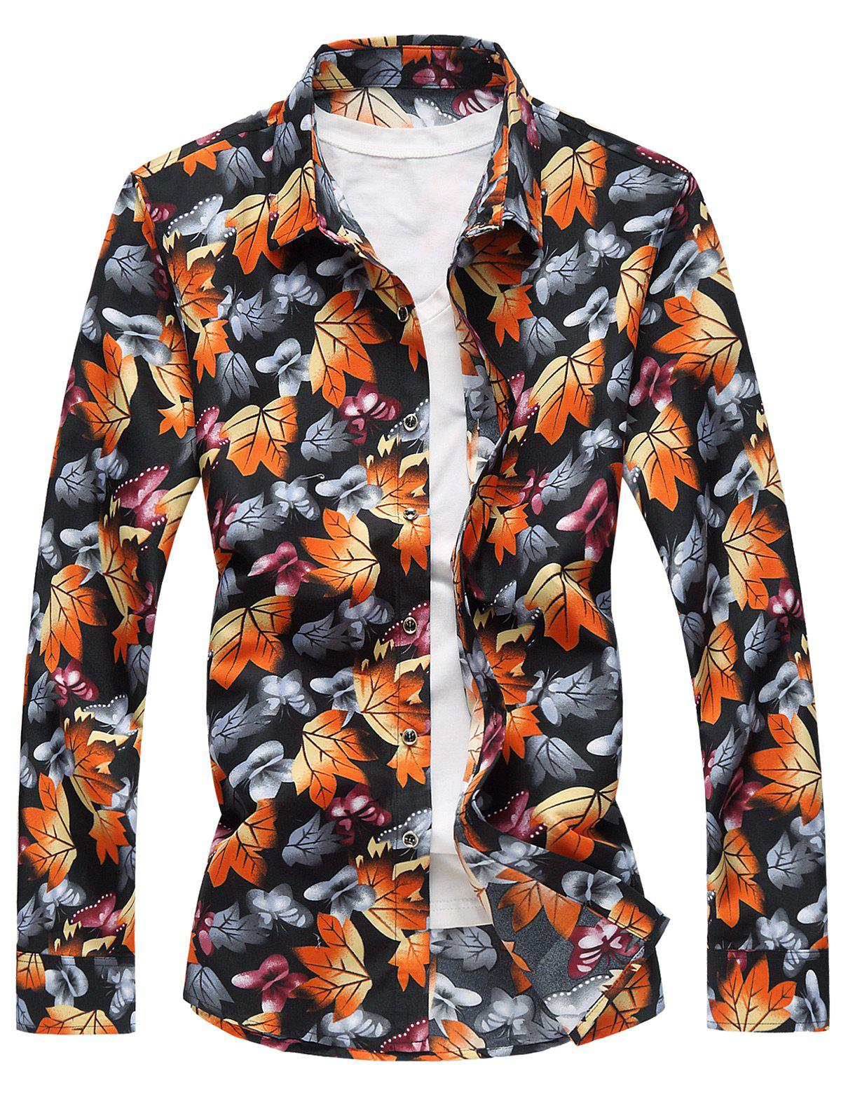 Chic 3D Maple Leaves and Butterflies Print Plus Size Shirt