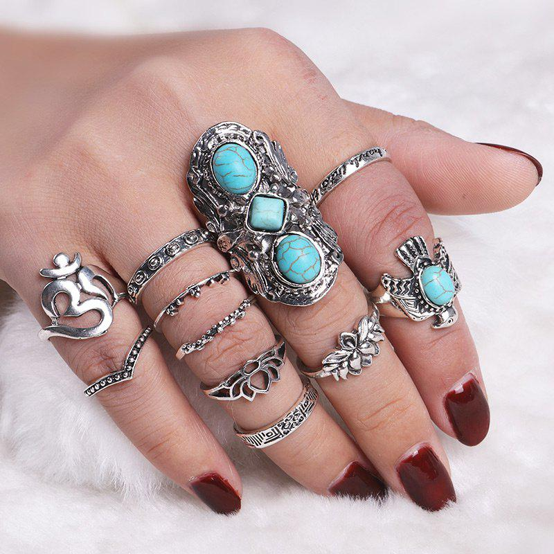 Faux Turquoise Floral Fly Eagle Ring SetJEWELRY<br><br>Color: SILVER; Gender: For Women; Metal Type: Alloy; Style: Trendy; Shape/Pattern: Animal,Floral; Weight: 0.0550kg; Package Contents: 11 x Rings (Piece);