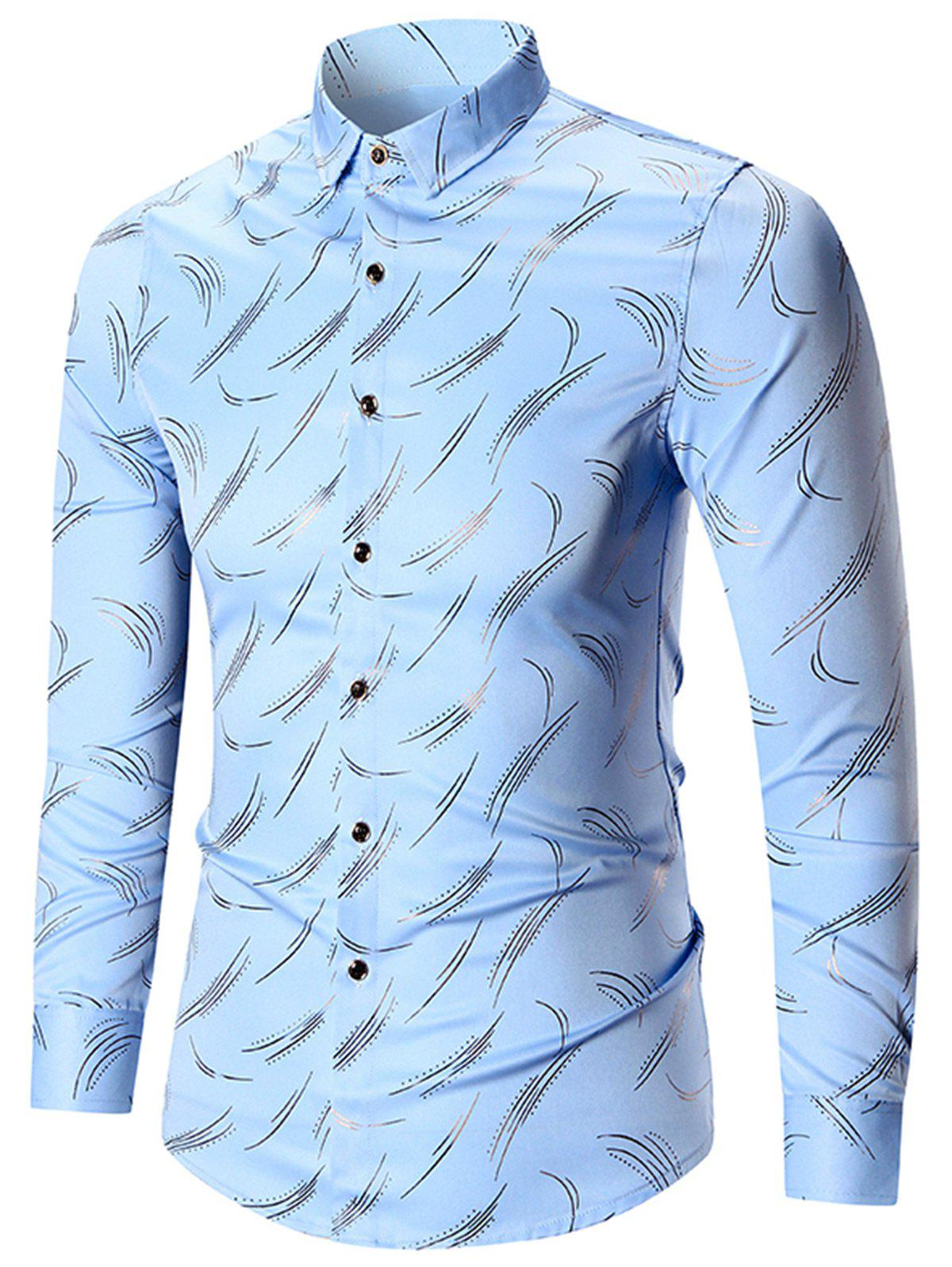 Fancy Printed Long Sleeve Plus Size Shirt