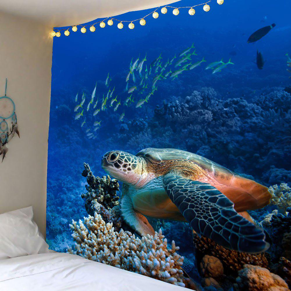 Turtle Ocean Fish Wall Art TapestryHOME<br><br>Size: W59 INCH * L51 INCH; Color: BLUE; Style: Romantic; Theme: Animals; Material: Polyester; Feature: Removable,Washable; Shape/Pattern: Animal; Weight: 0.2100kg; Package Contents: 1 x Tapestry;