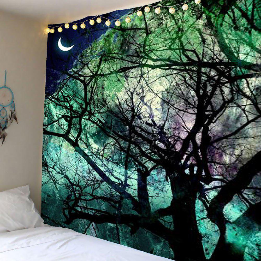 Home Decor Moon Tree Wall Hanging TapestryHOME<br><br>Size: W91 INCH * L71 INCH; Color: LIGHT GREEN; Style: Romantic; Material: Polyester; Feature: Removable,Washable; Shape/Pattern: Moon,Plant; Weight: 0.4100kg; Package Contents: 1 x Tapestry;