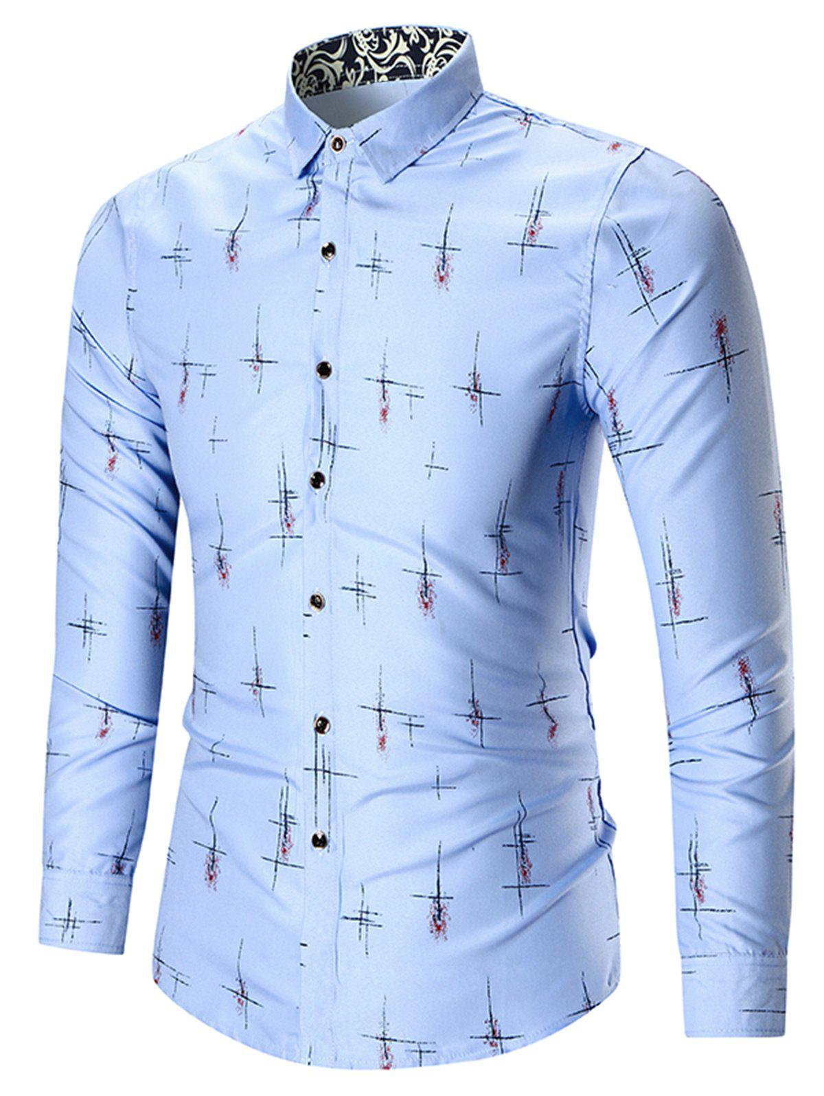Printed Plus Size Long Sleeve ShirtMEN<br><br>Size: 7XL; Color: BLUE; Shirts Type: Casual Shirts; Material: Cotton,Polyester; Sleeve Length: Full; Collar: Stand Collar; Weight: 0.2800kg; Package Contents: 1 x Shirt;