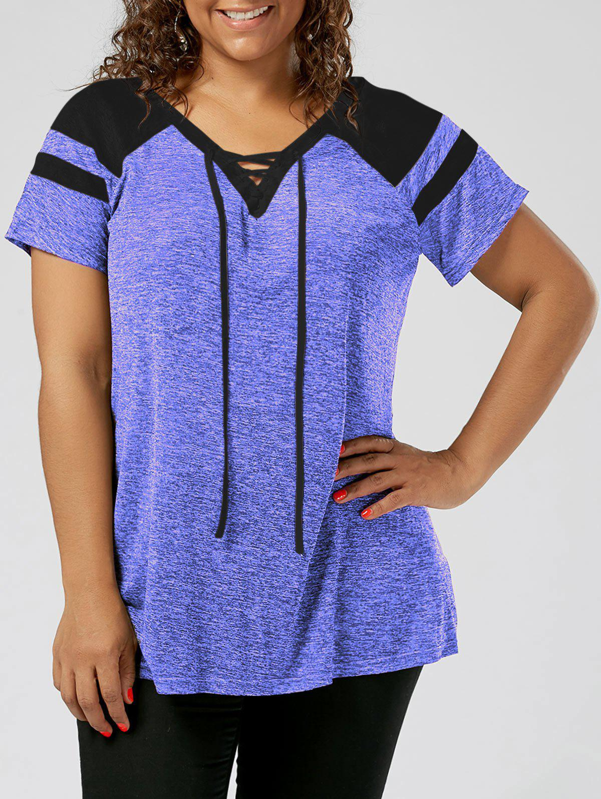 Plus Size Lace Up Raglan Sleeve TopWOMEN<br><br>Size: 4XL; Color: BLACK AND BLUE; Material: Polyester,Spandex; Shirt Length: Long; Sleeve Length: Short; Collar: V-Neck; Style: Active; Season: Summer; Pattern Type: Others; Weight: 0.1900kg; Package Contents: 1 x Top;